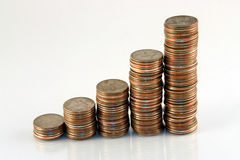 Coins. A stack of coins ascending like a bar graph Stock Images