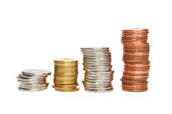 Coins. Piled up displaying a growing chart royalty free stock photos