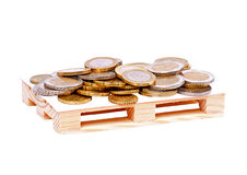 Coins. Range of coins over a white background Royalty Free Stock Images