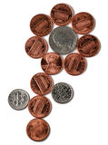 Coins. White and red isolated on white background. Copper and silver. Money flower Royalty Free Stock Photo