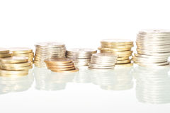 Coins. Picture of Danish coins stacked, white   background Royalty Free Stock Images