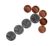 Coins. Isolated on white background. Money. Cash Stock Photos