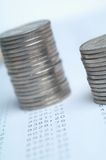 Coins. Two stacks of silver coins royalty free stock photo