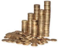 Coins. Golden coins in high stacks Stock Image