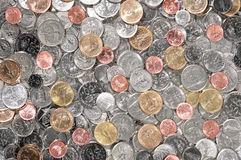 Coins. Varies type value of coins stack together Stock Image