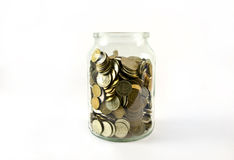 Coins 3. Pieces of money kept in the glass jar Royalty Free Stock Photography