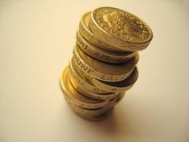 Coins 3. A stack of pound coins stock image