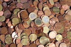 Coins. Sharp in the middle. Euro copper  all over europe Royalty Free Stock Photos