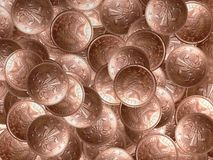 Coins. Lots of 2 pence coins Stock Photos