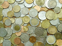 Coins. Top view of different coins Stock Photography