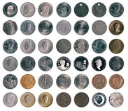 Coins. Collection of an old coins royalty free stock photos