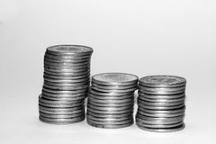 Coins. Stacks of coins, swedish currency Stock Image