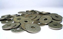 Coins. More french old coin's royalty free stock photography