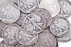 Coins. Old coins on the white background Stock Photo
