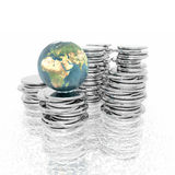 Coins with 3D globe isolated on a white Royalty Free Stock Photo