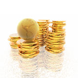 Coins with 3D globe isolated on a white Royalty Free Stock Photos