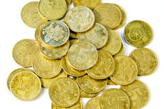 Coins 4. Gold coins on white background Royalty Free Stock Images