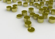 Coins. 3d symbolic gold coins in stacks of different height on a white surface Royalty Free Stock Photo