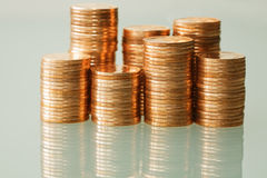 Coins. Stacks of coins - business concept Stock Images