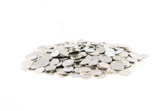 Coins. Pile of Czech coins on white background Stock Photo