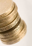 Coins. Stack of UK sterling coins Stock Photos