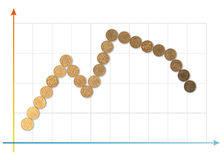 Coins 5. Graph royalty free stock photos