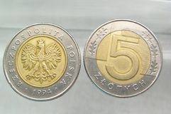 Coins - 5 polish zloty. Money stock images