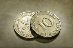Coins. A close-up of 2 (10 Pfenning) coins Stock Photo