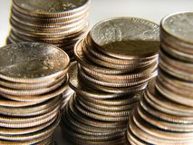 Coins. Closeup of american quarters stacked Stock Photo