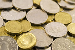 Coins. A lot of european gold and silver coins Stock Image