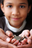 Coins. Pile of coins sitting in a childs hand stock photography