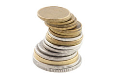 Coins. A stack of coins isolated (with clipping path Stock Images