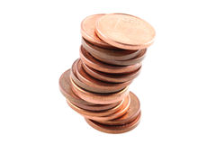 Coins. A stack of coins isolated (with clipping path Royalty Free Stock Photography