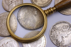 Coins. Ancient silver coins stock photography