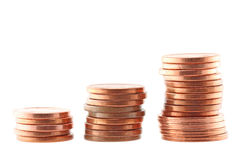 Coins. Three stacks of coins isolated (with clipping path Stock Photography