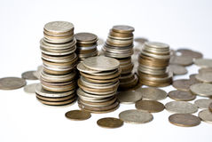 Coins. On the white background Royalty Free Stock Images