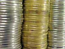 Coins. Pile folded coins. Coins stock Royalty Free Stock Images