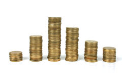 Coins. Stacked coins Royalty Free Stock Photography