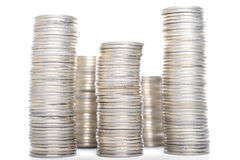 Coins. Stack isolated on white background Royalty Free Stock Photography