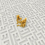 Coins in the abstract labyrinth, success concept. Stock Image