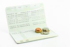 Coins on account passbook  isolate Stock Photography