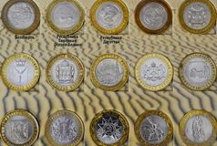 Different coins of different cities of Russia royalty free stock photos
