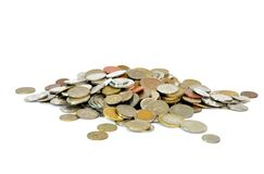 Coins from all around the world royalty free stock photo