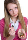 coins allvarliga flickahänder Fotografering för Bildbyråer