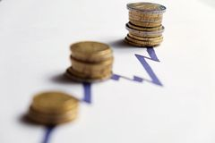 Coins along the rising peaks of a chart line. (Eur, GBP) Royalty Free Stock Photo