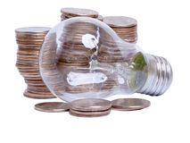 Coins And Lamp Stock Photos