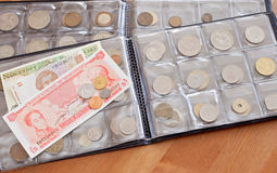 Coins And Paper Bills Collection Stock Photography