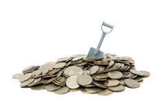Coins And Shovel Royalty Free Stock Images