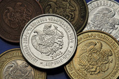 Coins of Armenia. Armenian national coat of arms depicted in Armenian dram coins Stock Image