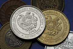 Coins of Armenia. Armenian national coat of arms depicted in Armenian dram coins Stock Images